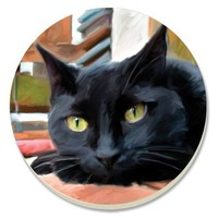 CounterArt Black Cat Absorbent Coasters, Set of 4 $11.10