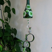 Glass Wind Chime, Recycled Green wine bottle wind chime, Green Flowers,  Sun catcher, Yard art, Patio decor, House warming