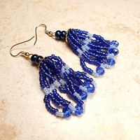 Navy Blue Earrings with Faceted Crystals and Seed Beads Womens Modern Boho Jewelry Loop Tassel Tassle Dangle Gold Plated Hypoallergenic