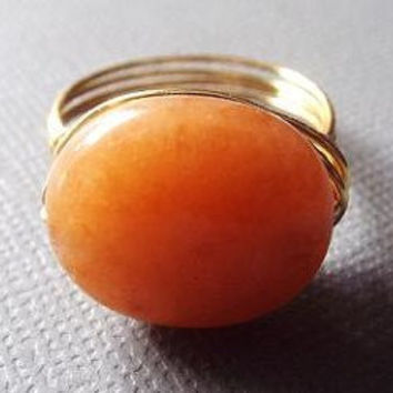 Red Aventurine ring - wire wrap ring - orange stone ring - boho ring - gifts under 15 - oval stone ring - autumn jewelry - simple ring