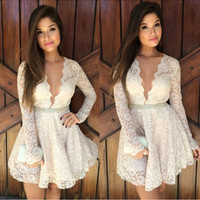 White Lace Long Sleeve Skater Dress