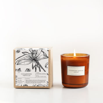 Cedarwood Vanilla Amber Glass Candle