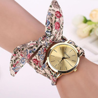 Montre 2016 Vogue Floral Strap Wristwatch Women's Jacquard Cloth Quartz Watch Women Geneva Bracelet Watches Relogio Feminino