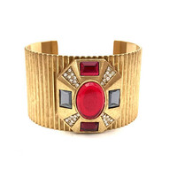 Heraldic Maltese Cross Cuff Bracelet, Multi Color, Gold Tone, Heraldic Jewelry, Statement Bracelet, Art Deco Style, Vintage Jewelry, 1970s
