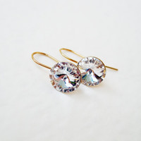 Gold plated sterling silver Swarovski crystal rivoli earrings Classic clear crystal gold bridal wedding dangle earrings