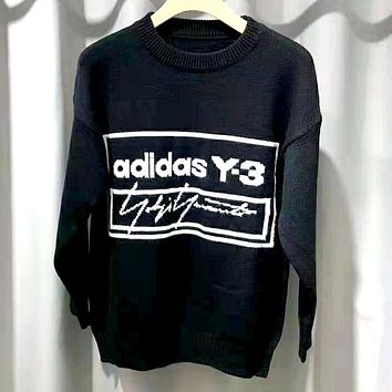 ADIDAS 2019 new jacquard letters cotton round neck long-sleeved sweater Black