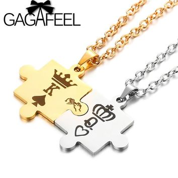 GAGAFEEL King&Queen Couple Necklaces with Crown Letter K&Q Stainless Steel Tag Pendant Necklace for Lovers' Romantic Gift