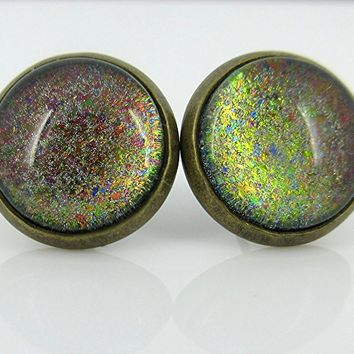 Antiqued Gold-Tone Rainbow Color Shifting Glitter Flake Glass Stud Earrings