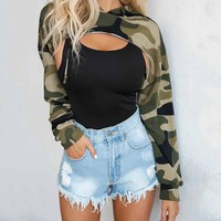 UK Sweatshirts Womens Crop Hoodie Long Sleeve Top Jumper Hooded Pullover Casual Sweatshirt Camo Tops