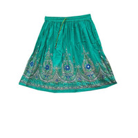 Mogulinterior Short Hippie Skirt Sea Green Sequin Beaded Boho Knee Lenght Skirts