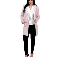 Blush Textured Fleece Snap Button Coat