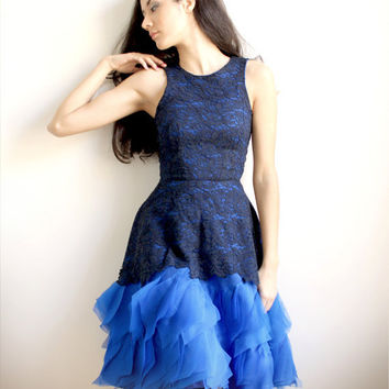 $565.00 Annabeth  Navy blue lace dress with silk embellishment by Leanimal