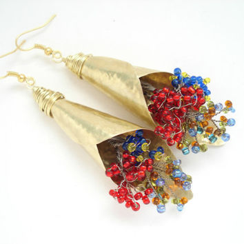 Unique Handmade Bouquets Earrings-Hammered Gold Bronze Earrings-Colorful Beaded Bouquets-Boho Contemporary Earrings-Long Impressive Earrings