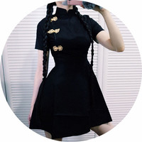 Free Shipping CHINESE STYLE BUTTON SKATER DRESS