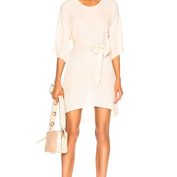Raquel Allegra Belted Boxy Dress in Antique White Tie Dye | FWRD