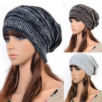 New Women Man Fashion Knit Hot Beanie Beret Hat Winter Warm Oversized Ski Cap = 1946081092