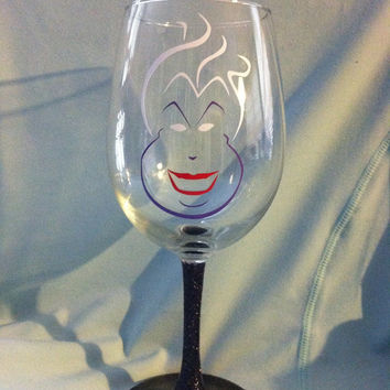 Ursula glittered wine glass inspired by Disney's The Little Mermaid