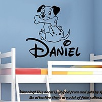 Wall Decal Personalized Boys Name Vinyl Sticker Decals Dalmatian Dog Nursery Wall Decor Kids Room Childrens Bedroom Decor NS996