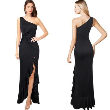 One Shoulder Ruched Twist Knot Asymmetric Ruffle High Slit Formal Evening Mermaid Maxi Dress