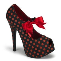 "Red/Black Polka Dot Print 5 3/4"" Heel by Bordello"