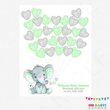 Mint and Gray Elephant Baby Shower, Guest Book Template, Guest Book Alternative, Watercolor, Printable Guest Book, Guest Book Elephant