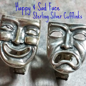 Vintage Sterling Cufflinks Happy Sad Face Mardi Gras Mask Theater Fun to Wear Fun to Collect Dress Shirt Accessory Sterling Silver Faces
