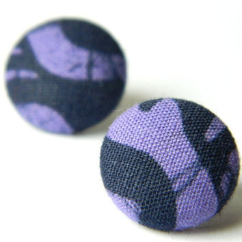 Button Earrings PurpleBlue Abstract by PushTheButtons on Etsy