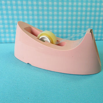 Scotch Tape Dispenser - Heavy - Model C-15 - Retro Desk Supplies - Pink Desk Accessories - Vintage Office 1970's