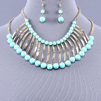 "18.25"" silver turquoise choker bib collar metallic necklace 1"" earrings"