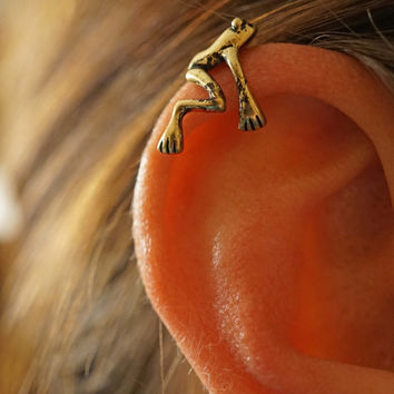 Silver or Gold Tree Frog Ear Cuff Jacket No Piercing Non Pierced