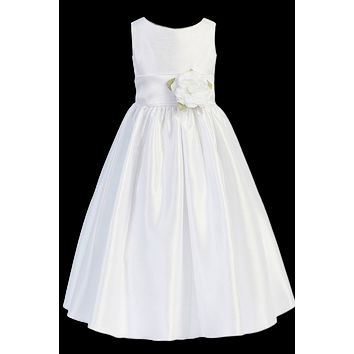 Poly Silk First Holy Communion Dress with Long Organza Sash in White or Ivory (Girls Sizes 6 to 14)