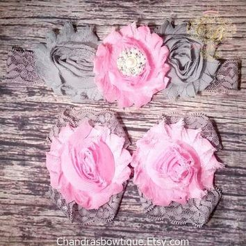 Baby Headband / Beautiful Fancy Pink and Gray