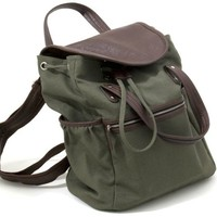 Olive Green Canvas Backpack with Double Leather Look Handles 16