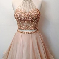 Pink Halter Beadings Chiffon Homecoming Dress