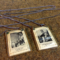 Vintage Catholic Scapular - Brown - Our Lady Of Mt Carmel - S Simon Stock - Chain