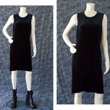 Black Velvet Dress, 90s Black Goth Sleeveless Dress, Little Black Dress, Black Witchy Dress, Ronni Nicole, Women's Size 12, Plus Size Dress