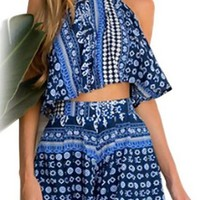 US-Lady Women's Bohemian Print Jumpsuit Blue Playsuit Rompers