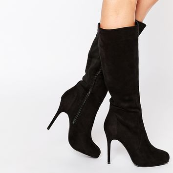 New Look Brandi Black Heeled Knee Boots