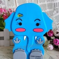 Sky Blue 3D *Animal* Baby Elephant Soft Silicone Case For Ipod Touch 4 4G 4TH