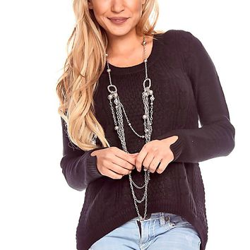 CHARCOAL ROUND NECK LONG-SLEEVE PULL-OVER HIGH-LOW SWEATER