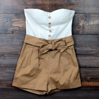 summer strapless romper  in tan - final sale