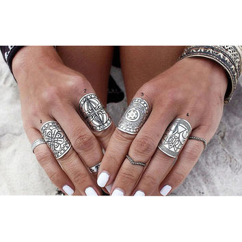 Women Boho Beach Jewelry 4 Types 1 Piece 2016 New Bohemia Vintage Unique Carving Ring Set Tibetan Silver Plated