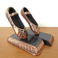 Bronzed ballet shoe book ends, copper ballet shoes