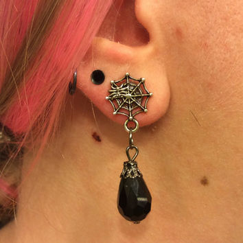 1/2 7/16 00g 0g 2g 4g 1 PAIR Halloween Themed Día de Muertos Day Of The Dead Spider Web Black Crystal Drop Plugs
