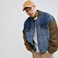 ASOS Denim Jacket With Bomber Sleeves In Blue Wash at asos.com