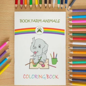 Coloring book with Book Farm Animals, Colouring book, Kids coloring book, Adult coloring book, Cute animals, Animal drawings, Creative gifts