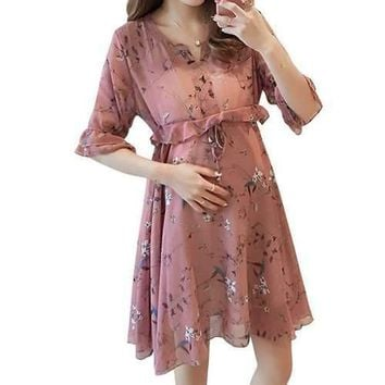 Summer Floral Ruffles Maternity Casual Dress