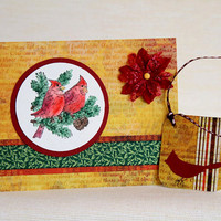 Christmas Cards with Red Cardinals, Set of 6 with Matching Gift Tags, Boxed Holiday Cards, Christmas Birds