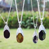 Fashion Eggplant Crystal Pendant Long Chain Necklace at Online Fashion Jewelry Store Gofavor