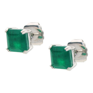 Small Square Cut Emerald Doublet Studs